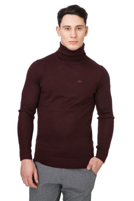 Пуловер мужской с высоким горлом темно-бордовый Lindbergh
