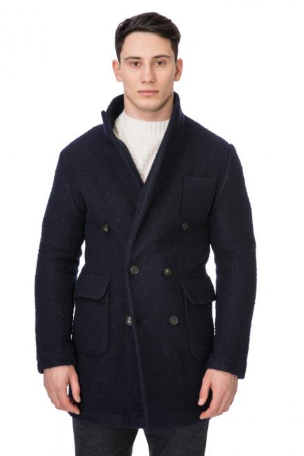 Пальто мужское двубортное укороченное темно-синее Wool & Co