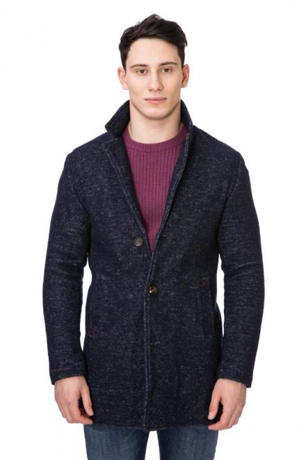 Пальто мужское однобортное приталенное синее Wool & Co