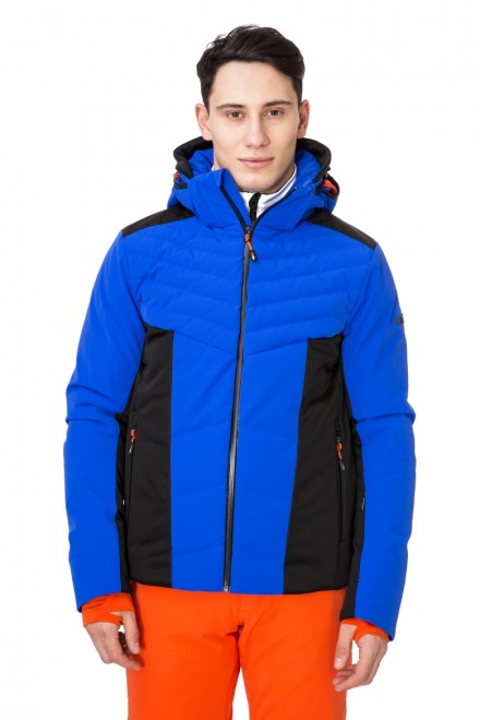 Куртка мужская лыжная черно-синяя с капюшоном Zero rh+