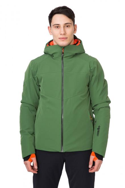 Куртка мужская лыжная зеленая с капюшоном Zero rh+