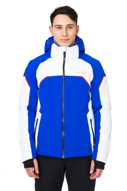Куртка мужская лыжная бело-синяя с капюшоном Zero rh+