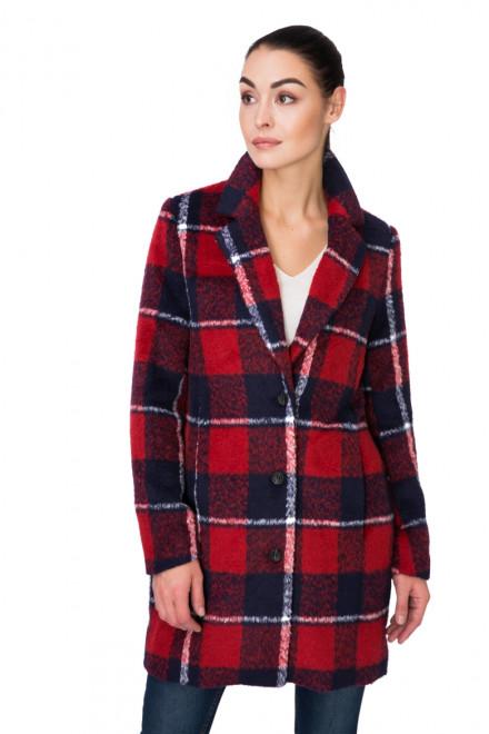 Пальто женское однобортное красное в клетку Blend she