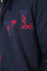 Пуловер мужской на двусторонней молнии темно-синий van Laack