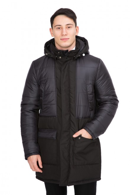 Куртка мужская стеганая с капюшоном из разнофактурной ткани черная Pal Zileri