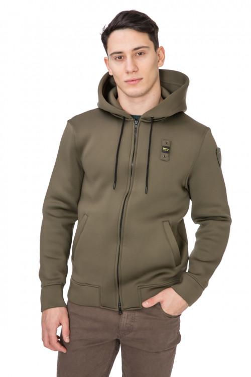 Пуловер мужской с капюшоном на молнии оливковый Blauer