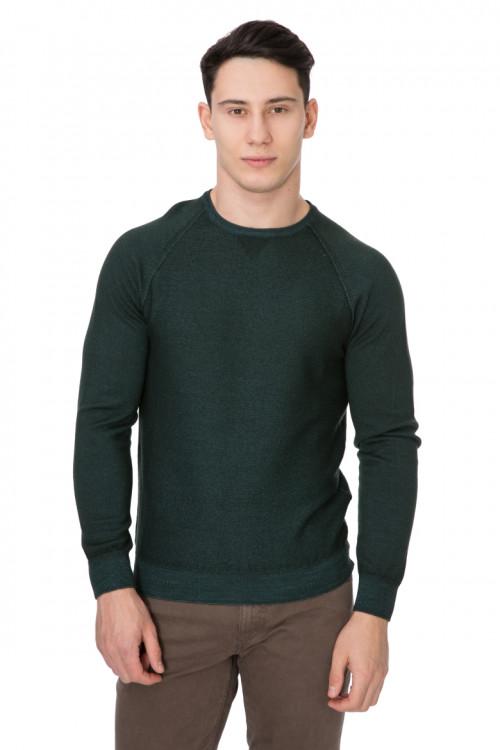 Пуловер мужской приталенный темно-зеленый Cadini