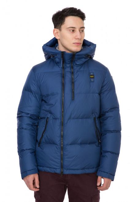 Куртка-пуховик мужская с капюшоном на молнии синяя Blauer