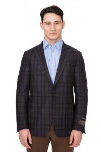 Коричневый клетчатый пиджак Cadini