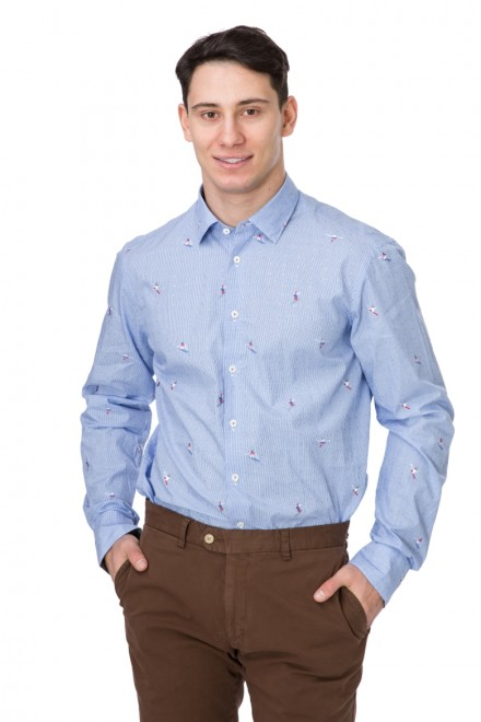 Рубашка мужская голубая в мелкий рисунок van Laack