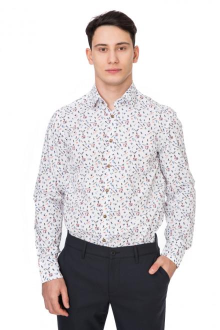 Рубашка мужская белая с мелким рисунком van Laack