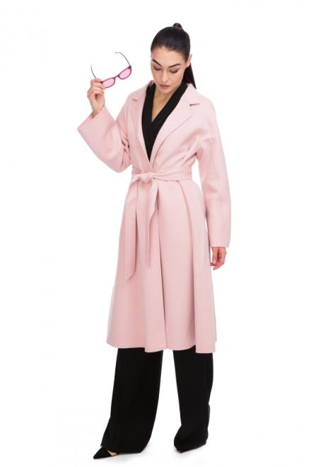 Пальто женское на запах под пояс светло-розовое Miss Sixty