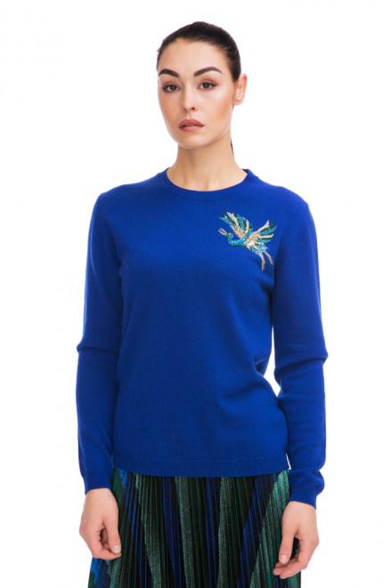 Пуловер женский синий с вышивкой Beatrice