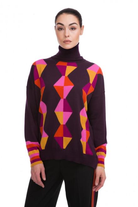 Пуловер женский с высоким горлом бордовый в геометрический принт Beatrice