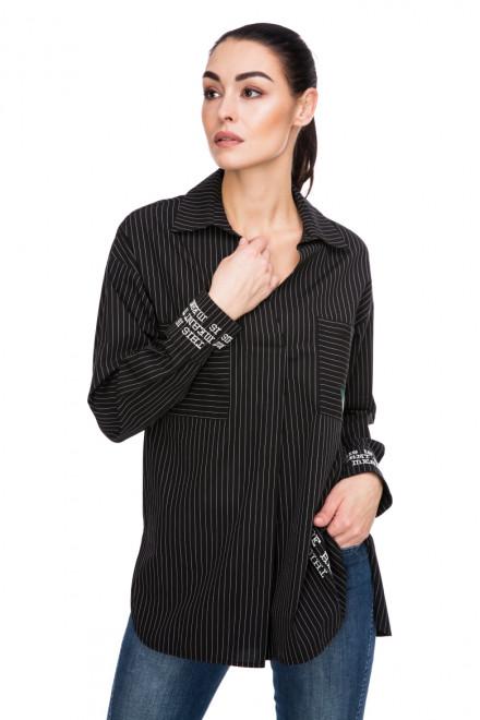 Рубашка женская черная в полоску с принтом Beatrice