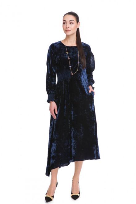 Платье женское с разрезами на рукавах темно-синее Sfizio