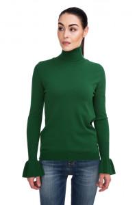 Пуловер женский с высоким горлом зеленый Sfizio