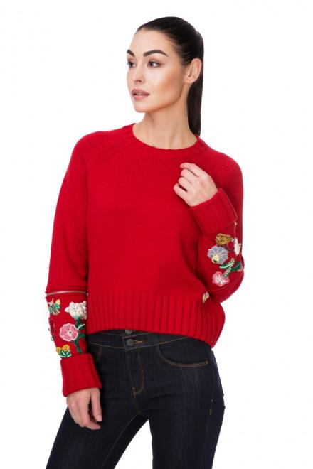 Пуловер женский с цветочным принтом красный Miss Sixty