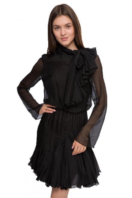 Платье женское черное с длинным рукавом и воротником-бантом Miss Sixty