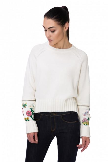 Пуловер женский с круглым вырезом и цветочным принтом белый Miss Sixty