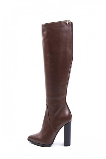 Сапоги женские из кожи на высоком каблуке и платформе коричневого цвета Fabio di Luna