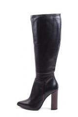 Сапоги женские черного цвета с бордовыми вставками на высоком каблуке Fabio di Luna