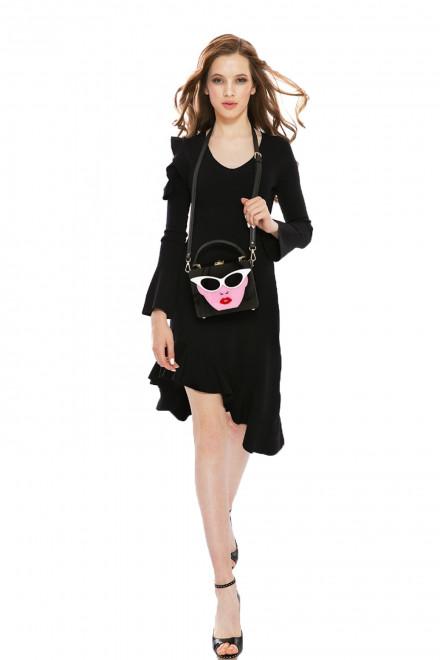 Платье женское с асимметричным подолом и открытыми плечами черного цвета Miss Sixty