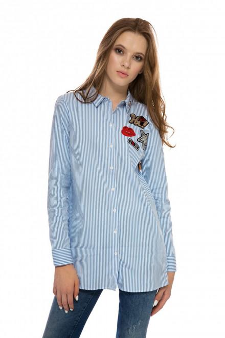 Сорочка женская с длинным рукавом белого цвета в полоску и с принтом-нашивкой Rich&Royal