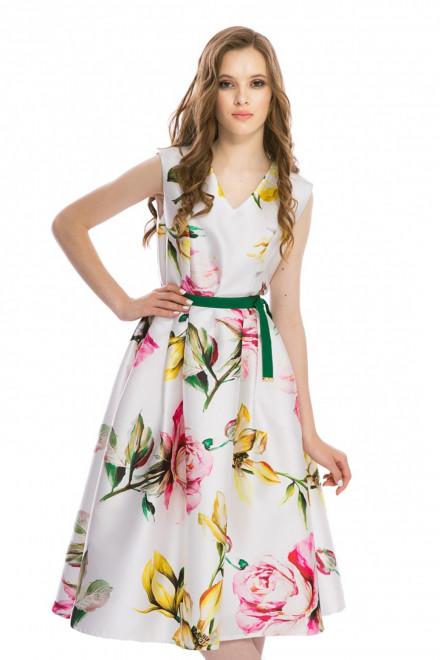 Платье женское без рукавов с пышной юбкой белое в цветочный принт Weill