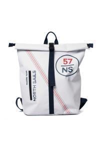 Сумка-рюкзак белого цвета с синими вставками и логотипом North sails