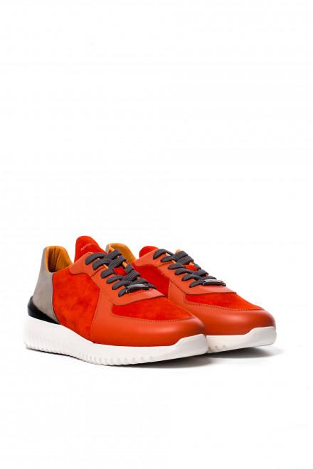 Туфли спортивные мужские оранжевого цвета с серыми вставками Ambitious