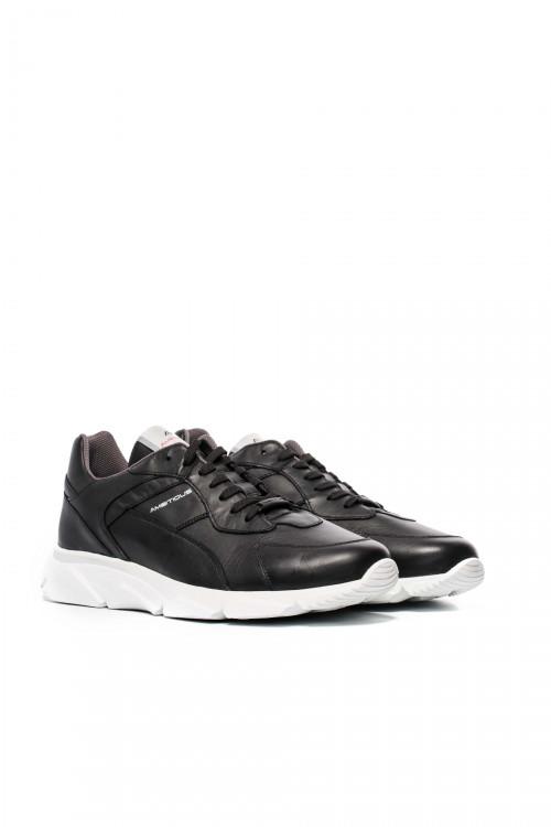 Туфли спортивные мужские черного цвета из натуральной кожи Ambitious