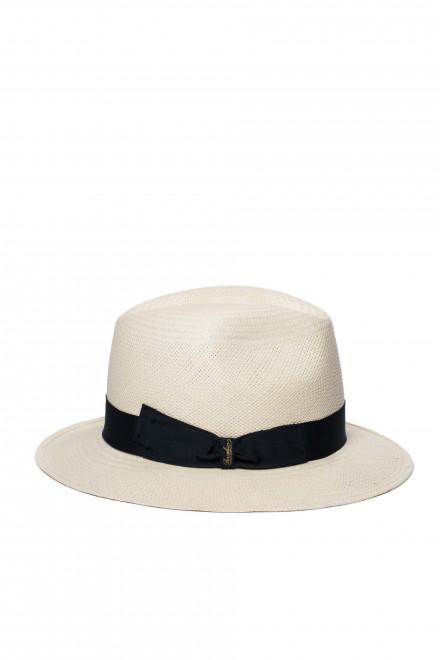 Шляпа женская белого цвета с черной лентой Borsalino