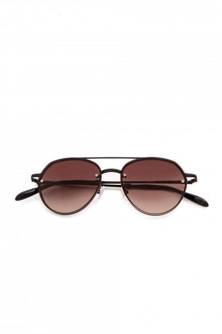 Солнцезащитные мужские очки с темно-коричневыми линзами в металлической оправе Spektre