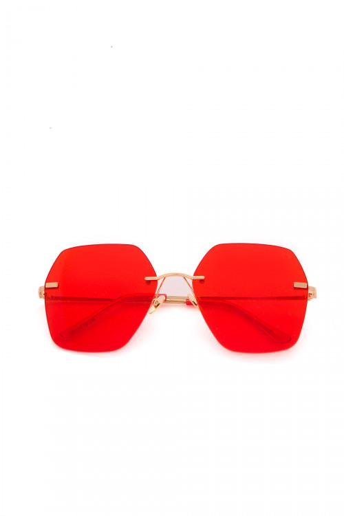 Солнцезащитные женские очки с красными линзами без оправы Spektre