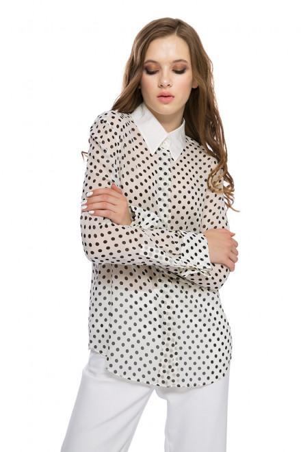 Блуза женская белая в черный горошек с длинным рукавом Strenesse