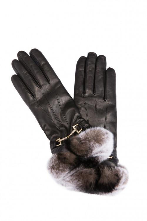 Перчатки женские черного цвета с опушкой и золотой пряжкой Sermoneta Gloves