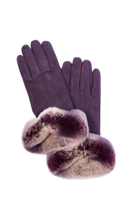 Перчатки женские фиолетового цвета из замши с меховой опушкой Sermoneta Gloves