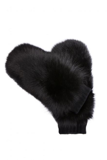 Рукавицы женские из черной кожи с опушкой Sermoneta Gloves
