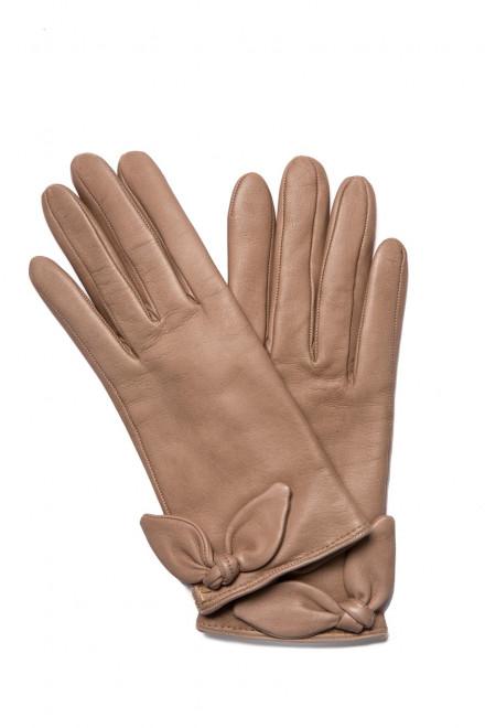Перчатки женские кожаные светло-коричневого цвета с бантиками Sermoneta Gloves