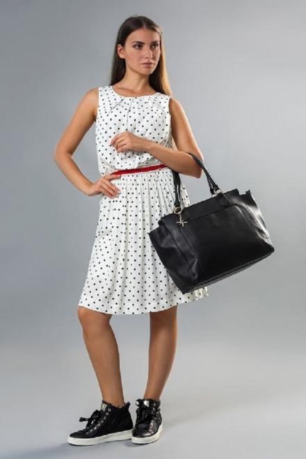 Платье женское без рукавов приталенное белое в черный горох Koccа