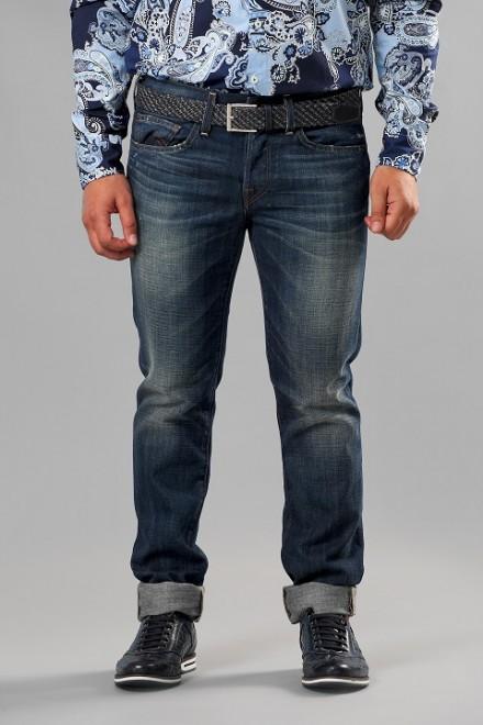 Джинсы мужские темно-синие в крупный рубчик с потертостями и заломами True Religion