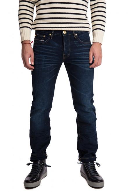 Джинсы мужские темно-синего цвета в рубчик с потертостями и заломами True Religion