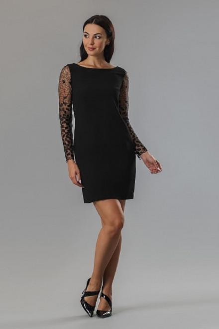 Платье женское мини с длинными кружевными рукавами черного цвета Axara