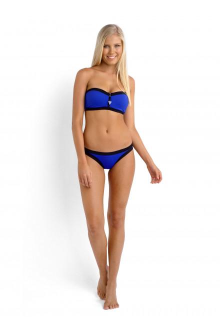 Плавки-бикини женские синие с черным кантом Seafolly