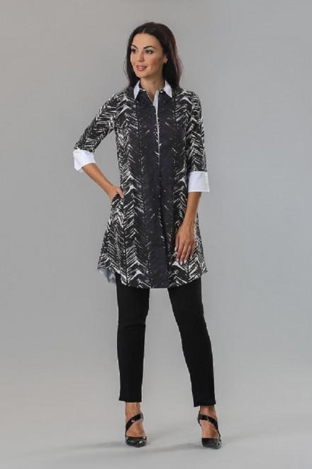 Платье-рубашка женское с четвертным рукавом черно-белая Beatrice b