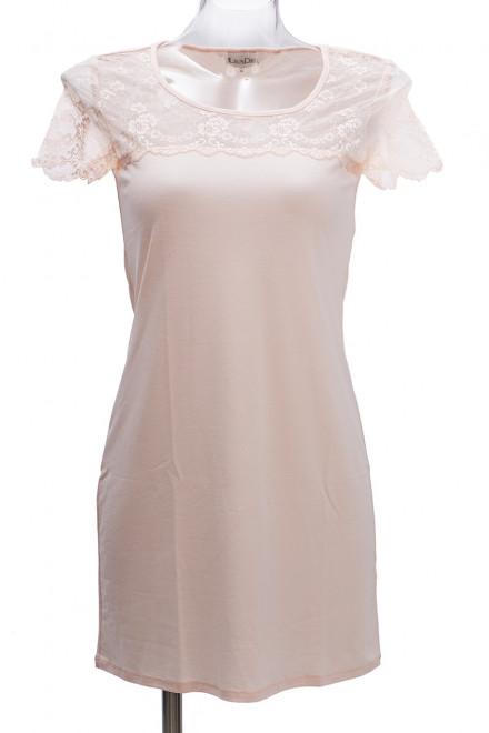Ночная сорочка женская пудрового цвета с коротким рукавом LingaDore