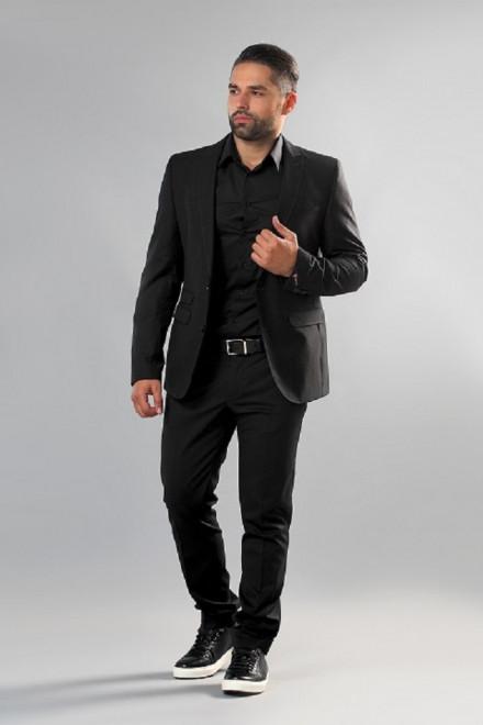 Пиджак мужской однобортный темно-серого цвета в мелкую клетку приталенный Carl Gross