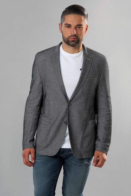 Пиджак мужской из хлопка серого цвета однобортный на две пуговицы Carl Gross