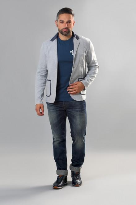Пиджак мужской трикотажный серого цвета широкий фасон Carl Gross